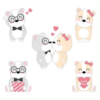 Satz von niedlichen bären liebenden paar.
