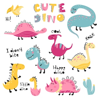 Satz von niedlichen dinosauten für kinder drucken