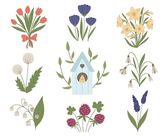 Satz von niedlichen frühlingsblumen und starhaus mit küken im inneren. erste blühende pflanzenillustration mit vogelhaus. blumen-clipart-sammlung