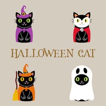 Satz von niedlichen halloween-katzen