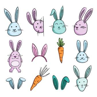 Satz von niedlichen hasen oder kaninchen mit würze