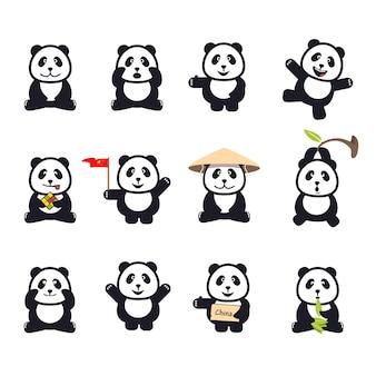 Satz von niedlichen lustigen cartoon pandas