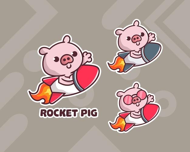 Satz von niedlichen raketenhühner-maskottchen-logo mit optionalem aussehen.