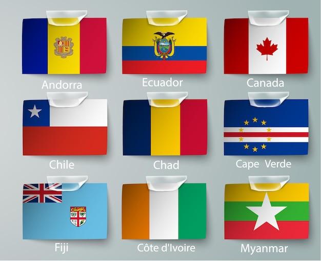 Satz von nigeria flags sammlung isoliert auf weiß