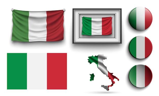 Satz von nigeria-flags-sammlung isoliert auf weiss.