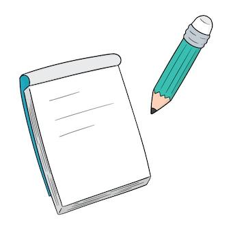 Satz von notizbuch und bleistift