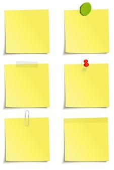 Satz von notizen mit clip, klebeband, plastilin, aufkleber und stiftbefestigung. illustration auf weißem hintergrund.