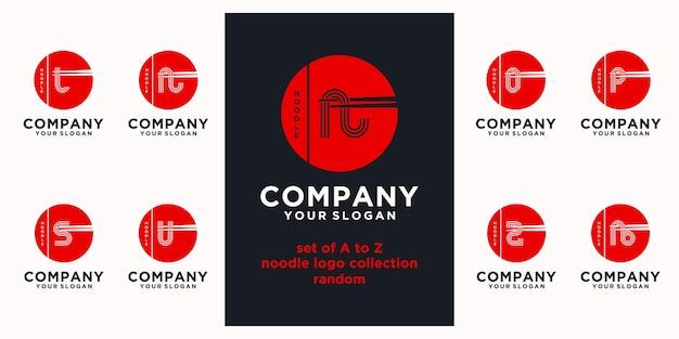 Satz von nudel-logo-referenz, mit anfänglichem stil, nudelladen, ramen, udon, lebensmittelladen und anderen.