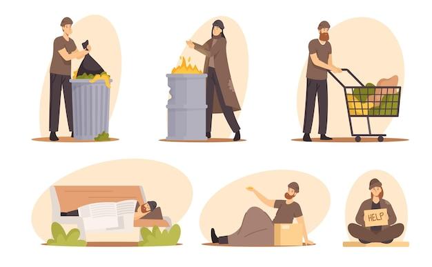 Satz von obdachlosen, männlichen und weiblichen bettlern, die geld betteln, hilfe und arbeit brauchen, penner, die zerlumpte kleidung tragen, müll auf der straße aufsammeln, auf der bank schlafen. cartoon-vektor-illustration
