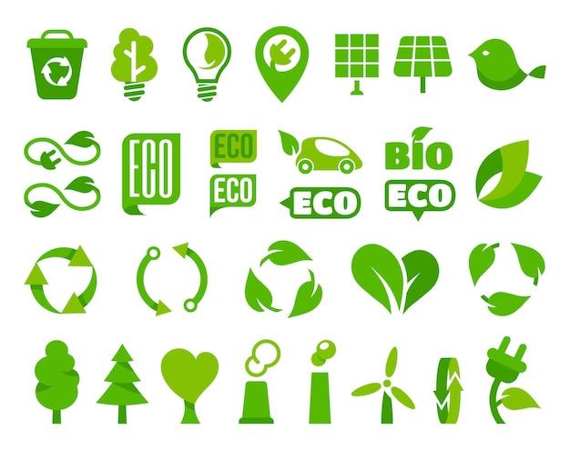 Satz von ökoikonen oder isolierten ökologiezeichen mit pflanzenblattillustration