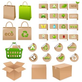 Satz von ökologischen behältern