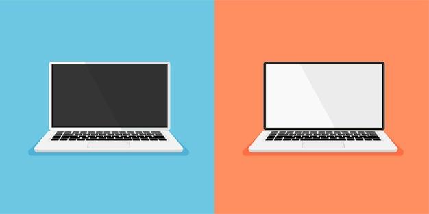 Satz von offenem laptop mit weißer und schwarzer anzeige, leeres oder leeres computersymbol isoliert