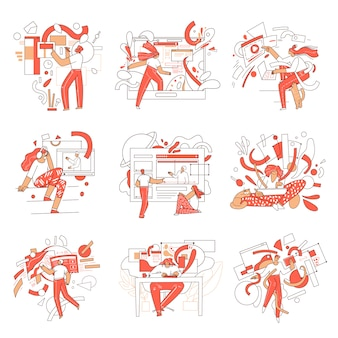 Satz von online-bildungsillustrationen mit mann- und frauenfiguren und abstrakten elementen. fernlernkonzept in den bereichen kreativität, wirtschaft, wissenschaft und computer