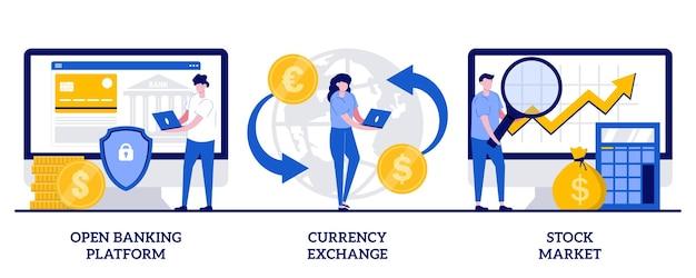 Satz von open-banking-plattform, währungsumtausch, börse