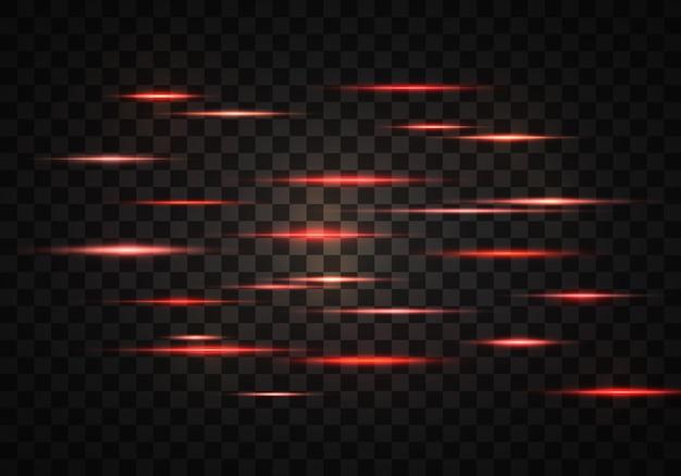 Satz von orangerot leuchtenden horizontalen strahlenlinsenlinien laserstrahlen lichtfackeleffekt