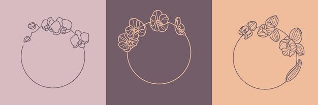 Satz von orchideenblumenrahmen und monogrammkonzept im minimalen linearen stil. vektorblumenlogo mit kopienraum für buchstaben oder text. stempel für kosmetik, medikamente, lebensmittel, mode, beauty