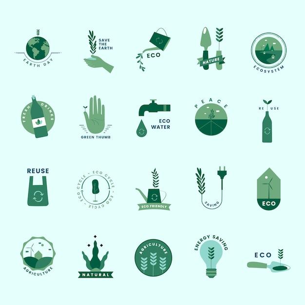 Satz von organischen und gehen grüne symbole