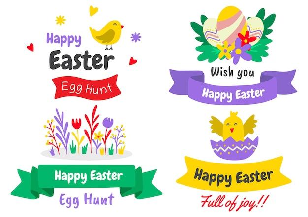 Satz von osterelementen mit gemalten eiern und tieren. fröhliche ostern