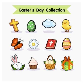 Satz von ostern sammlung. ostern, eier, huhn, schmetterling, blume, häschen, kleiner kuchen, geschenk, korb.