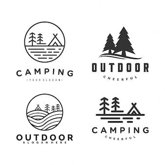 Satz von outdoor- und camping-logo