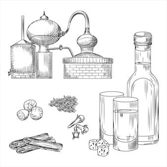Satz von ouzo griechischen alkoholelementen auf weiß