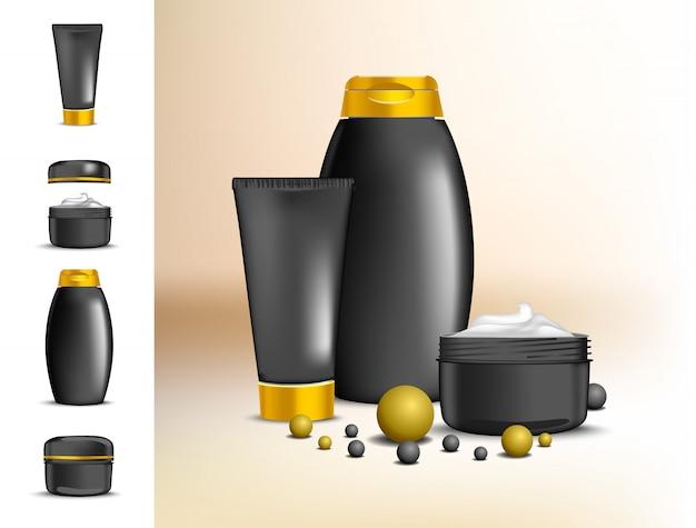 Satz von paketen für creme und shampoo. moderne verpackung für kosmetik in schwarz mit goldener kappe