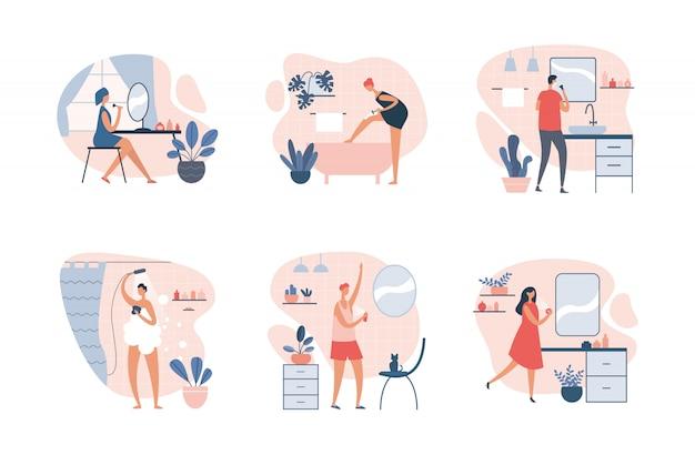 Satz von personen, die tägliche hygienepflege nehmen