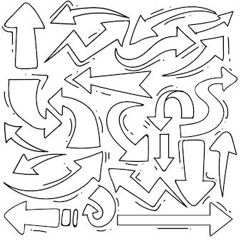 Satz von pfeil im doodle-stil isoliert auf weißem hintergrund, vektor handgezeichnete set pfeil thema. vektor-illustration