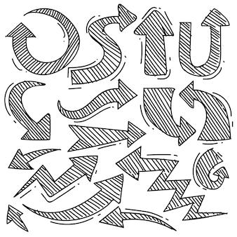Satz von pfeil im doodle-stil isoliert auf weißem hintergrund vektor-handgezeichnetes set-pfeil-thema