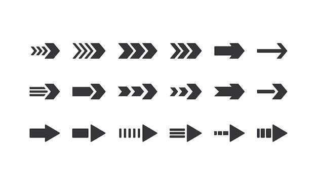 Satz von pfeilsymbolen, grafischen designelementen für die website-navigation, richtungszeichen nach rechts, piktogramm für den nächsten schritt