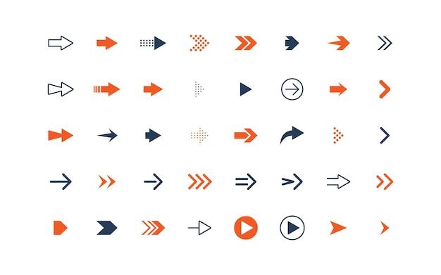 Satz von pfeilsymbolen, objekten, richtung