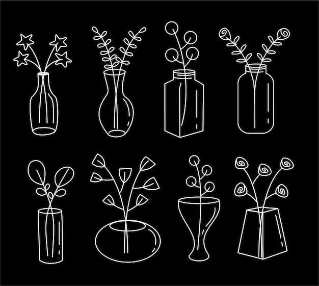 Satz von pflanzen in einer topfhand gezeichneten skizzenkunstlinie lokalisiert