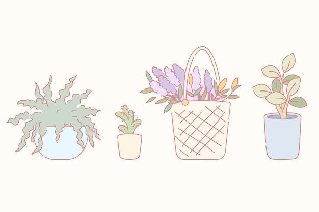 Satz von pflanzen in verschiedenen behältern im handgezeichneten linienstil