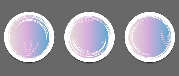 Satz von pinselstrichen in form eines kreises mit zweigen auf weißem hintergrund designvorlage