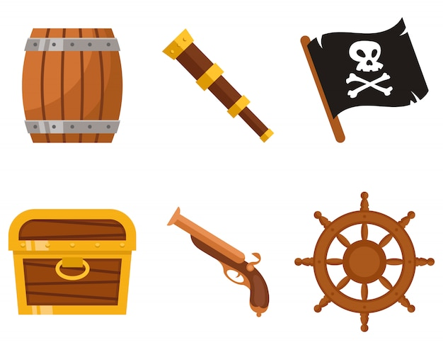 Satz von piratenattributen. marine objekte im cartoon-stil.