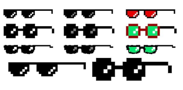 Satz von pixelbrillen im flachen stil eps-vektor