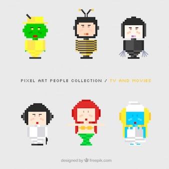 Satz von pixelig und kostümierten figuren
