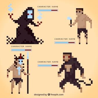 Satz von pixelig videospiel-charaktere