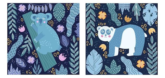 Satz von plakaten. poster mit einem panda und einem koala.
