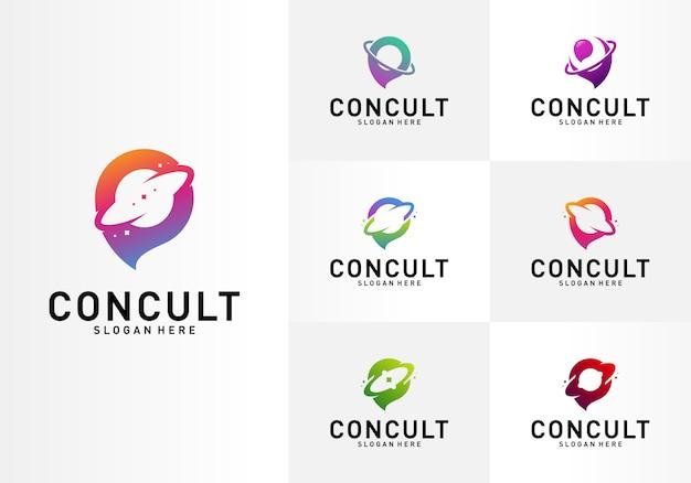 Satz von planet business consulting logo concept. app-chat-sprechblasen-logo
