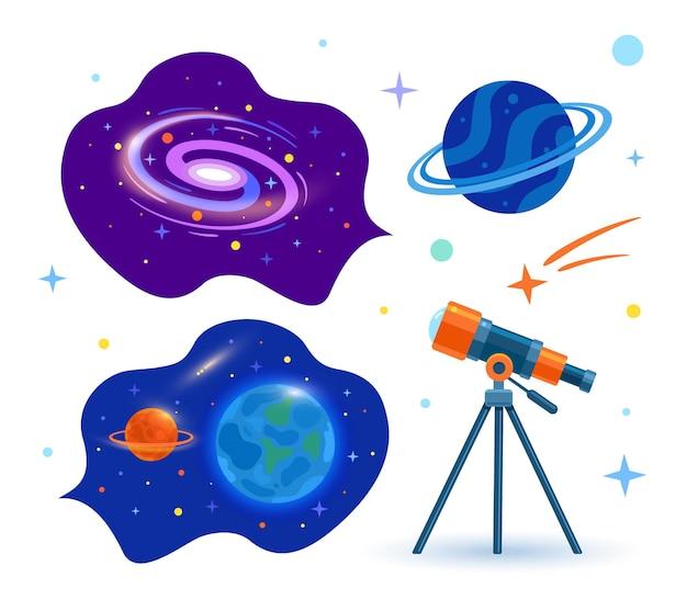 Satz von planeten, sternen und kometen und ein astronomisches teleskop blickt in den weltraum