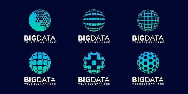 Satz von planetentechnologie logo design vektor vorlage.
