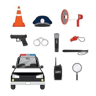 Satz von polizeiobjekten und ausrüstungen