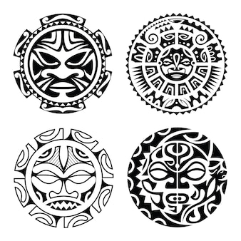 Satz von polynesischen tätowierung