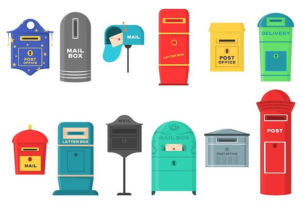 Satz von postfächern, briefkästen, sockeln zum senden und empfangen von briefen, korrespondenz, zeitungen, zeitschriften, rechnungen. satz briefkasten für lieferumschläge, paket im flachen stil.