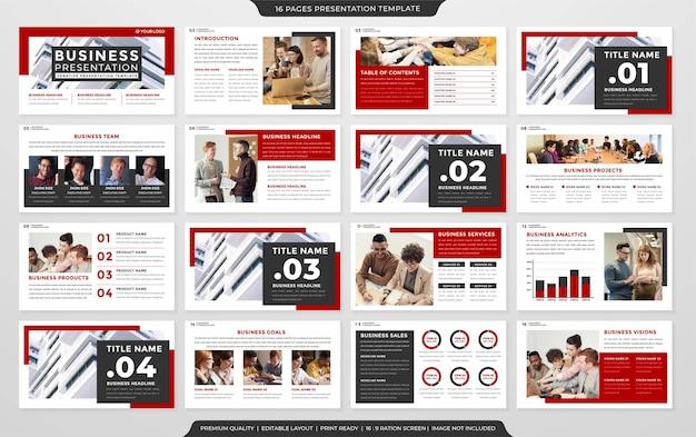 Satz von powerpoint-layout-premium-stil