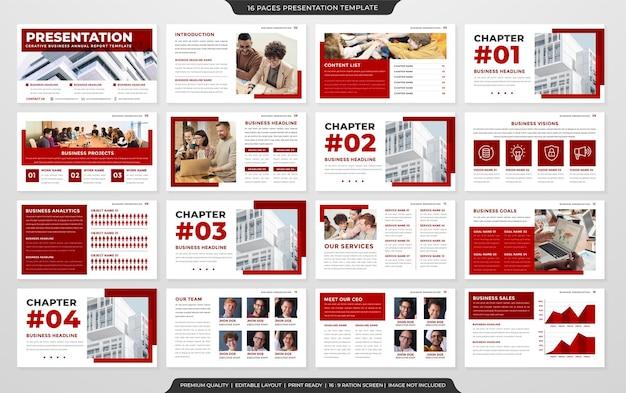Satz von powerpoint-layout-vorlagen mit minimalistischem stil
