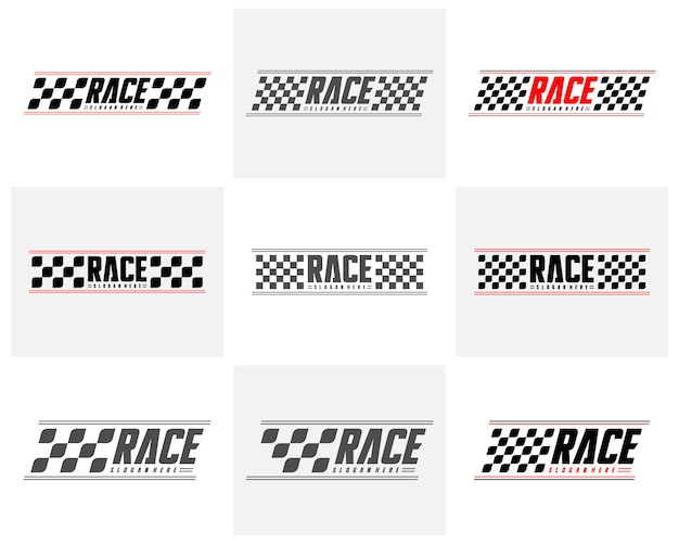 Satz von race flag design concepts icon