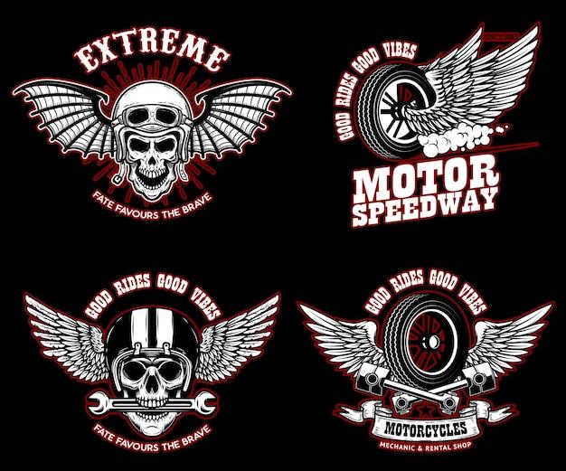 Satz von racer-emblem-vorlagen mit racer-schädeln