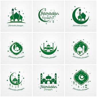 Satz von ramadan kareem logo vorlage